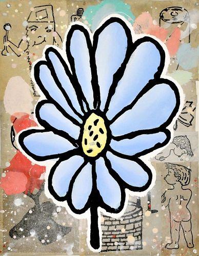 Donald Baechler, Blue Flower #2, 2019, Collage on Paper