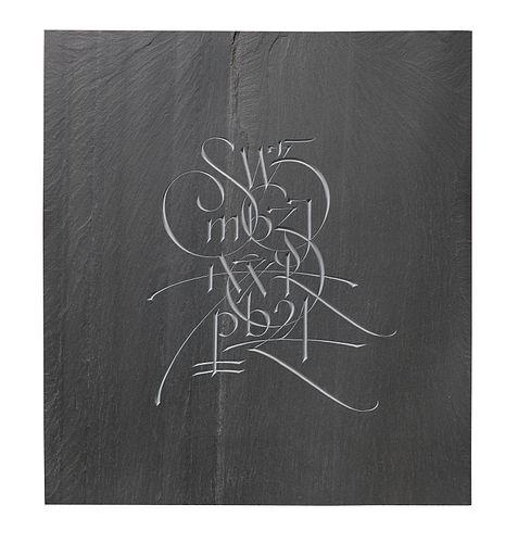 Nicholas Benson, Information, 2020, Hand Carved Cleft Slate