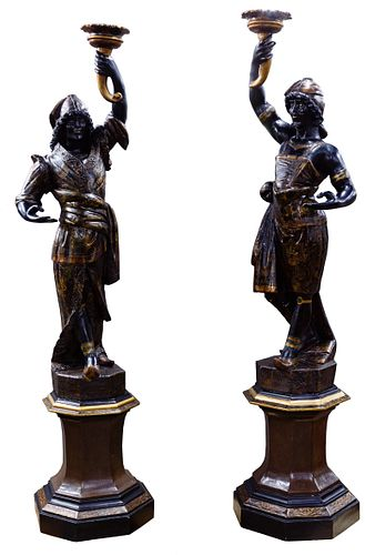 Blackamoor Carved Wood Figures