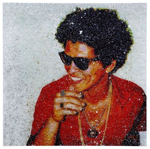 Tiffanie Anderson (American, b.1988) 'Bruno Mars' Mixed Media on Canvas