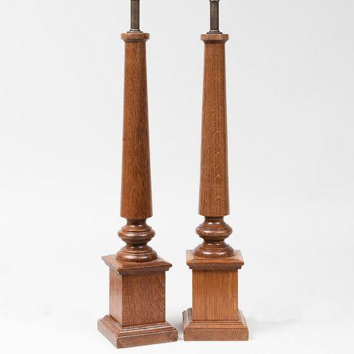 Pair of André Arbus Oak Columnar Lamps