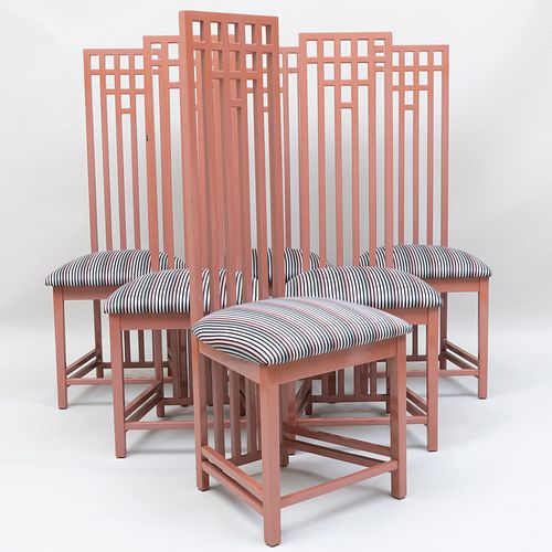 Set of Six Charles Rennie Mackintosh Style Lacquered Dining Chairs Upholstered in Sonia Rykiel Fabric