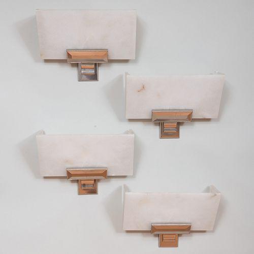 Set of Four Modern Alabaster and Gilt-Metal Sconces