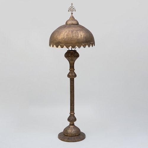 Large Moroccan Pierced Brass Floor Lamp