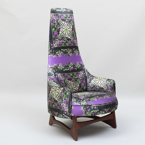 Adrian Pearsall Style Teak Tall Back Chair Upholstered in Dolce & Gabbana Silk