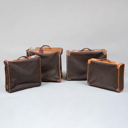 Four Louis Vuitton Softbound Garment Suitcases