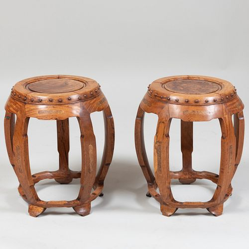Pair of Chinese Carved Hardwood and Burl Inset Garden Seats