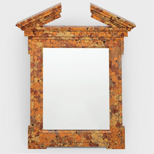 Large Donghia Painted Faux Marble Pedimented Mirror