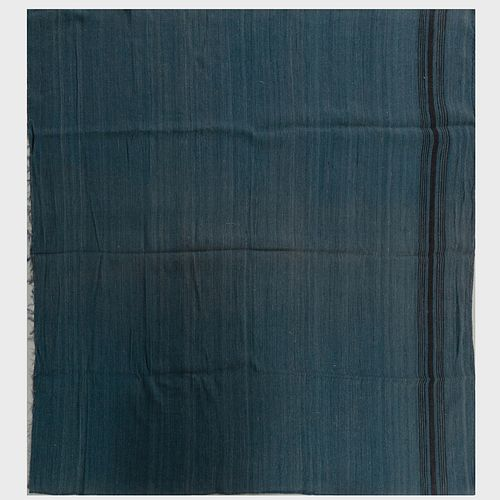 Two Blue and Black Flatweave Rugs