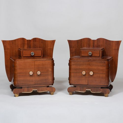 Pair of Art Moderne Small Rosewood Side Cabinets