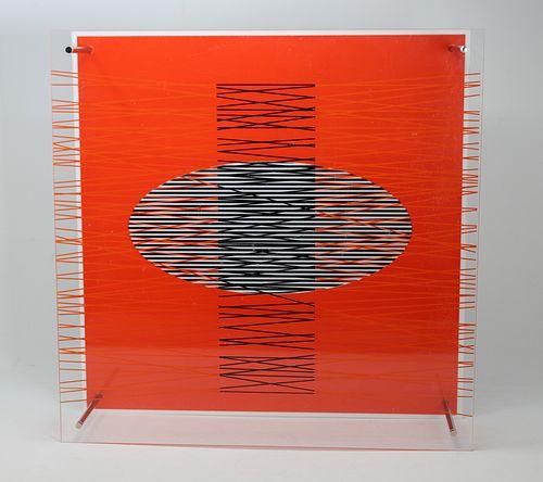 "Jesus Rafael Soto (1923 - 2005) ""Ovalo en el rojo"""