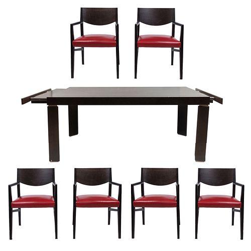Comedor. Siglo XX. Elaborado en madera. Consta de: a) Mesa. Cubierta rectangular, fustes y soportes lisos. 75 x 90 x 180 cm. Otros.