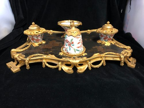 19TH CENTURY FRENCH GILT BRONZE & LACQUER DESK SET/DOUBLE INKSTAND