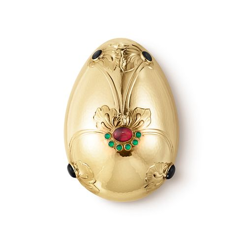 Georg Jensen 18kt Gold Egg Bonbonniere with Ruby, Green & Black Agate Stones