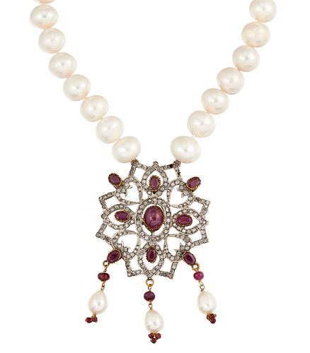 A RUBY, WHITE HARDSTONE AND CULTURED PEARL NECKLACE, the oval ruby cabochon