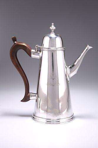 A VERY RARE GEORGE II PROVINCIAL?SILVER COFFEE POT, by Benjamin Brancker, L