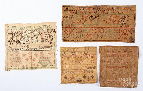 Four silk on linen samplers