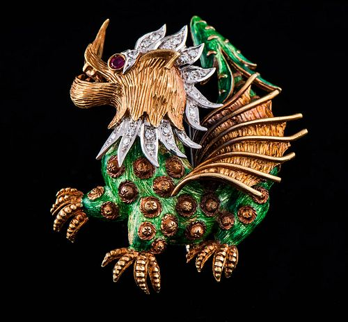 DRAGON BROOCH IN ENAMELS 1930s