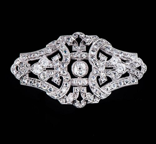 GOLDEN DECO' BROOCH WITH DIAMONDS