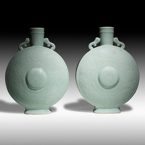 Chinese, celadon moonflasks, pair
