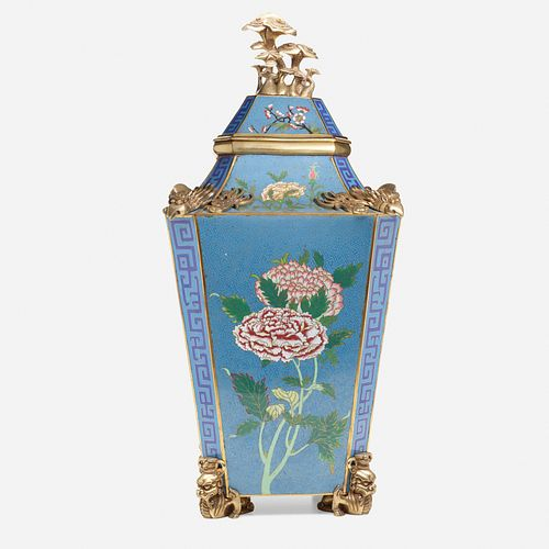 Chinese, Rare and Large cloisonne enamel 'Peony' vase and cover