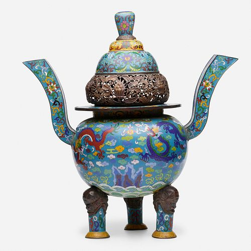 Chinese, cloisonne enamel 'Dragon' censer and cover