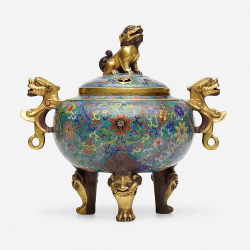 Chinese, cloisonne enamel tripod censer and cover