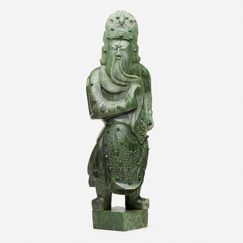 Chinese, Monumental spinach green jade figure of Guandi