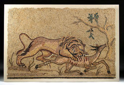 Roman Stone Mosaic - Lion Hunting Prey