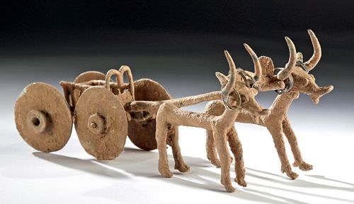 Near-Miniature Anatolian Bronze Chariot w/ Oxen Pulling