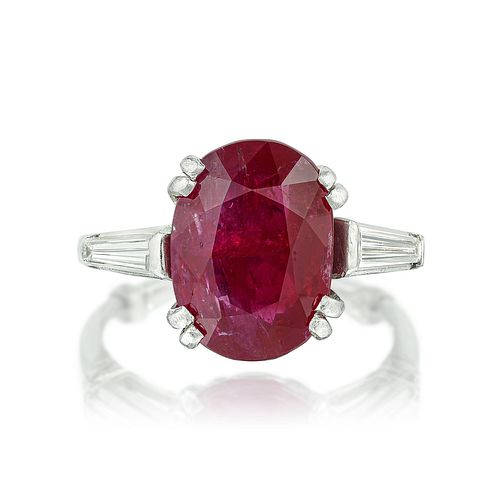 5.23-Carat Burmese Unheated Ruby and Diamond Ring