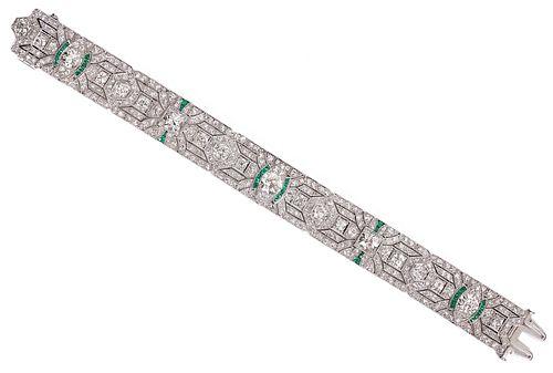 Art Deco 14ct. Diamond/Emerald/Platinum Bracelet