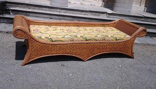 20th Century French Rattan Chaise Lounge - Courtesy Finnegan Gallery, Illinois