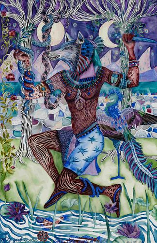 Donna Essig (American, 20th/21st century) Wolf Girl-She Can Take Care of Herself, 1984 and Dance of the Witches, 1988 (a pair of works)