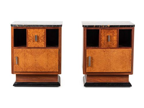 Art Deco Style  Mid 20th Century Pair of Night Stands