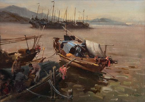 Terence Tenison Cuneo (British, 1907-1996) Harbored Fishing Boats