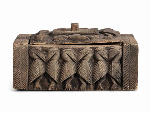 Sepik River Region Papua New Guinea Hornbill Carved Wooden Box and Cover