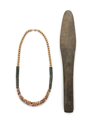 Pre-Columbian hard stone mallet together with a Pre-Columbian hard Stone, bone and bead necklace