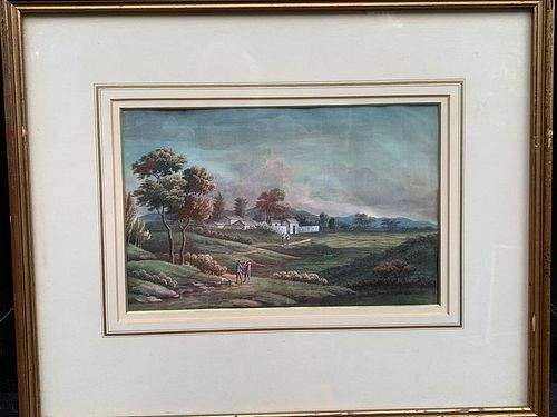 Pair Of China Trade Gouache on paper landscapes, circa 1850, courtesy of David Brooker Fine Art