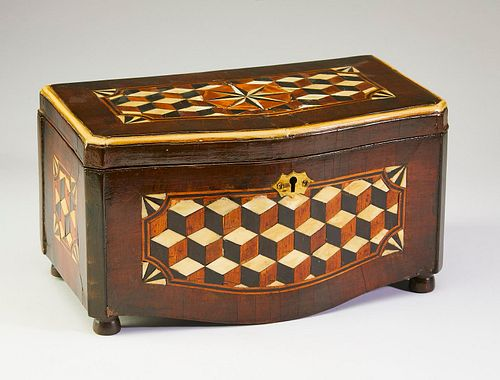 Mid 19th century English parquetry inlaid mahogany tea caddy, courtesy of Charlecote Antiques
