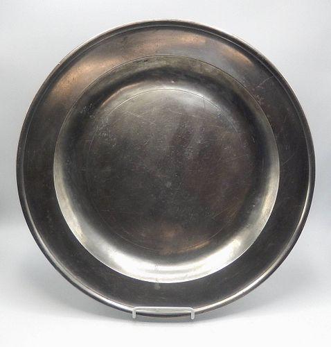 """16-1/2"""" English Pewter Dish Marked"""