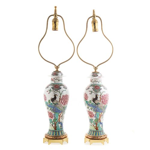 Pair Chinese Export Famille Rose Jar Lamps