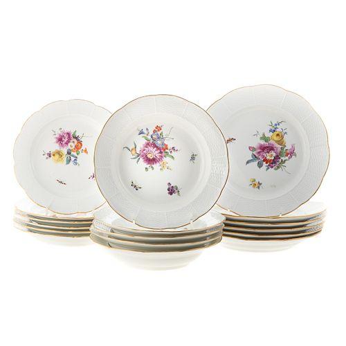17 Pieces Meissen Porcelain Dinnerware