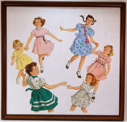 FINE American Illustration Painting of Children