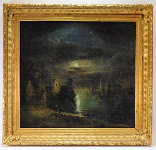 FINE Dutch Golden Age Nocturnal Harbor Painting