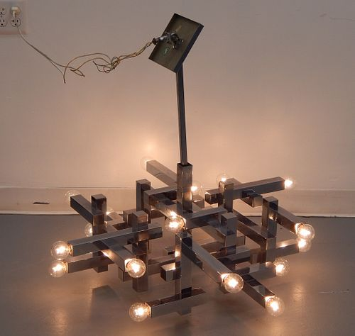 Gaetano Sciolari Modern Cubist Chrome Chandelier