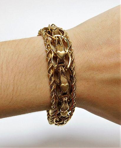 45.4g 14K Gold Braided Rope Heart Bracelet