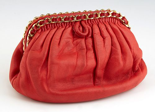 Chanel Red Lambskin Leather Chain Bag, with gold tone hardware opening to a red lambskin lined interior with side zip closure pouch...