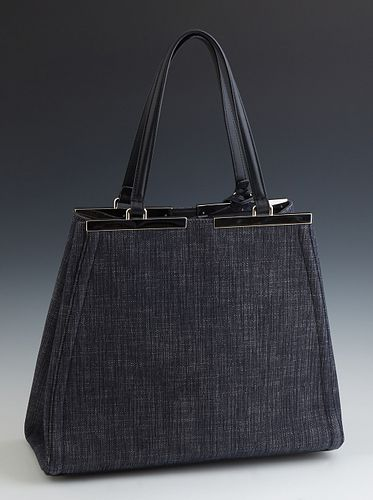 Fendi Blue Denim 2 Jours Tote Bag, with silver tone snap button closure opening to a blue suede interior with dual slit pockets on o...