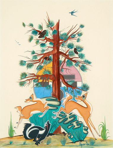Popovi Da, Untitled (Dancing Deer, Skunk, Tree) ca. 1965